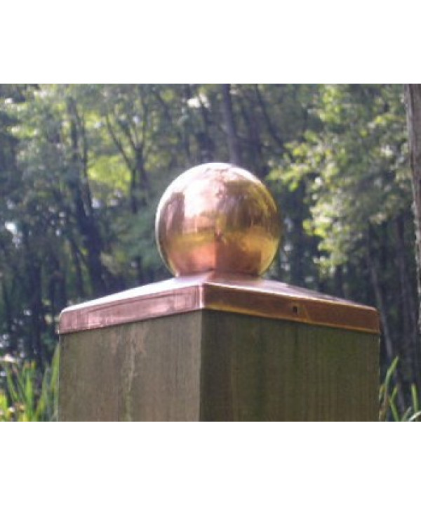 (5-5/8 inch) Nominal 6x6 Copper BALL Fence post cap