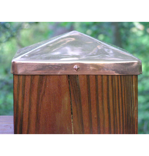 (4-1/8) Full 4x4 Copper Pyramid Fence post cap