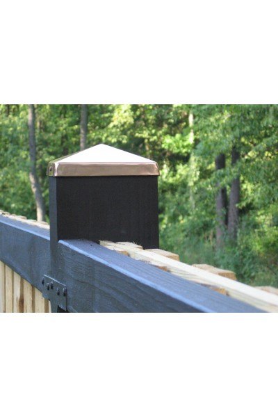 (8-1/8) Full 8x8 Copper Pyramid Fence post cap