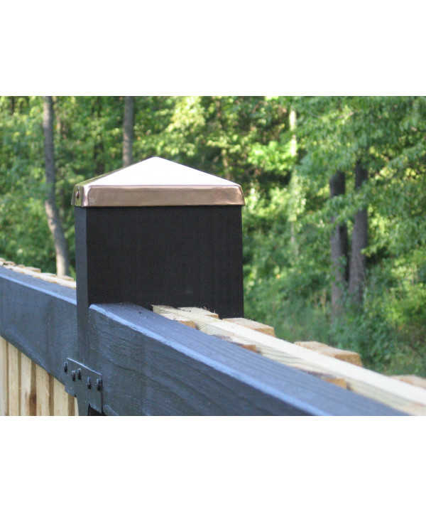 (4-1/8 x 6-1/8) Full 4x6 Copper Pyramid Fence post cap