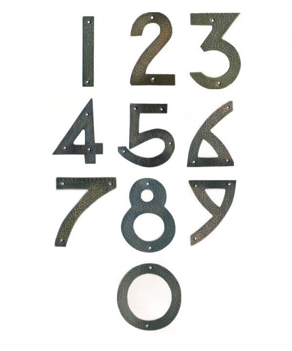 Arts & Craft Copper House Numbers - 4 inches