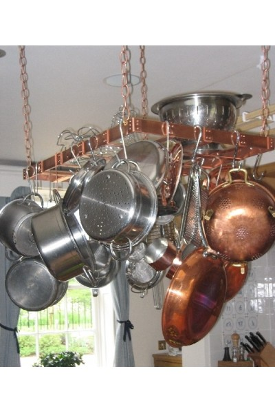 Rectangular Heavy Duty Copper Pot Rack 20x40