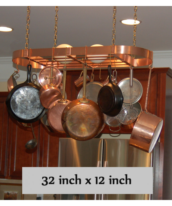 "Hanging Oval Copper Pot Rack - 32"" x 12"""