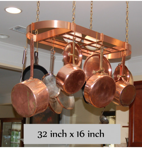 "Hanging Oval Copper Pot Rack - 32"" x 16""..."