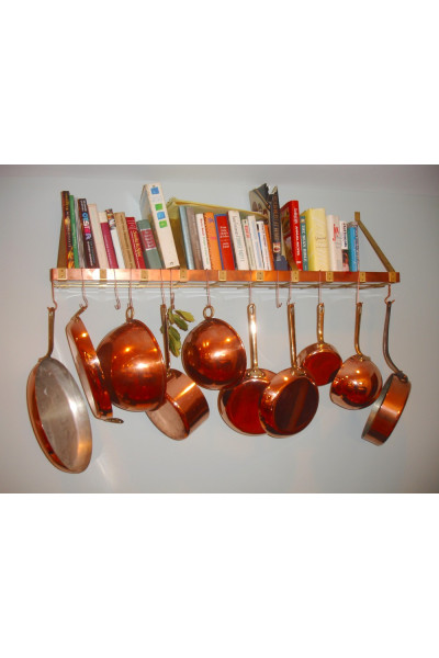 Wall Mounted Copper & Brass Pot Rack & Boo...