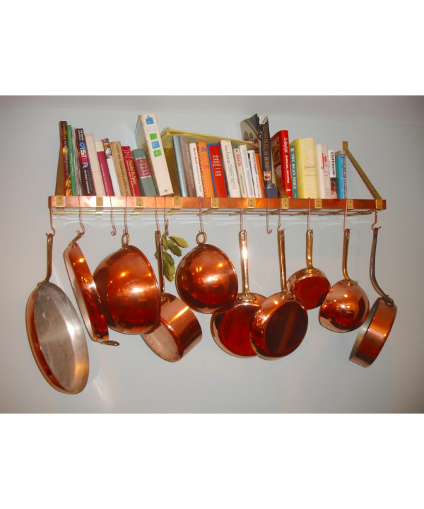 Wall Mounted Copper & Brass Pot Rack & Bookshelf