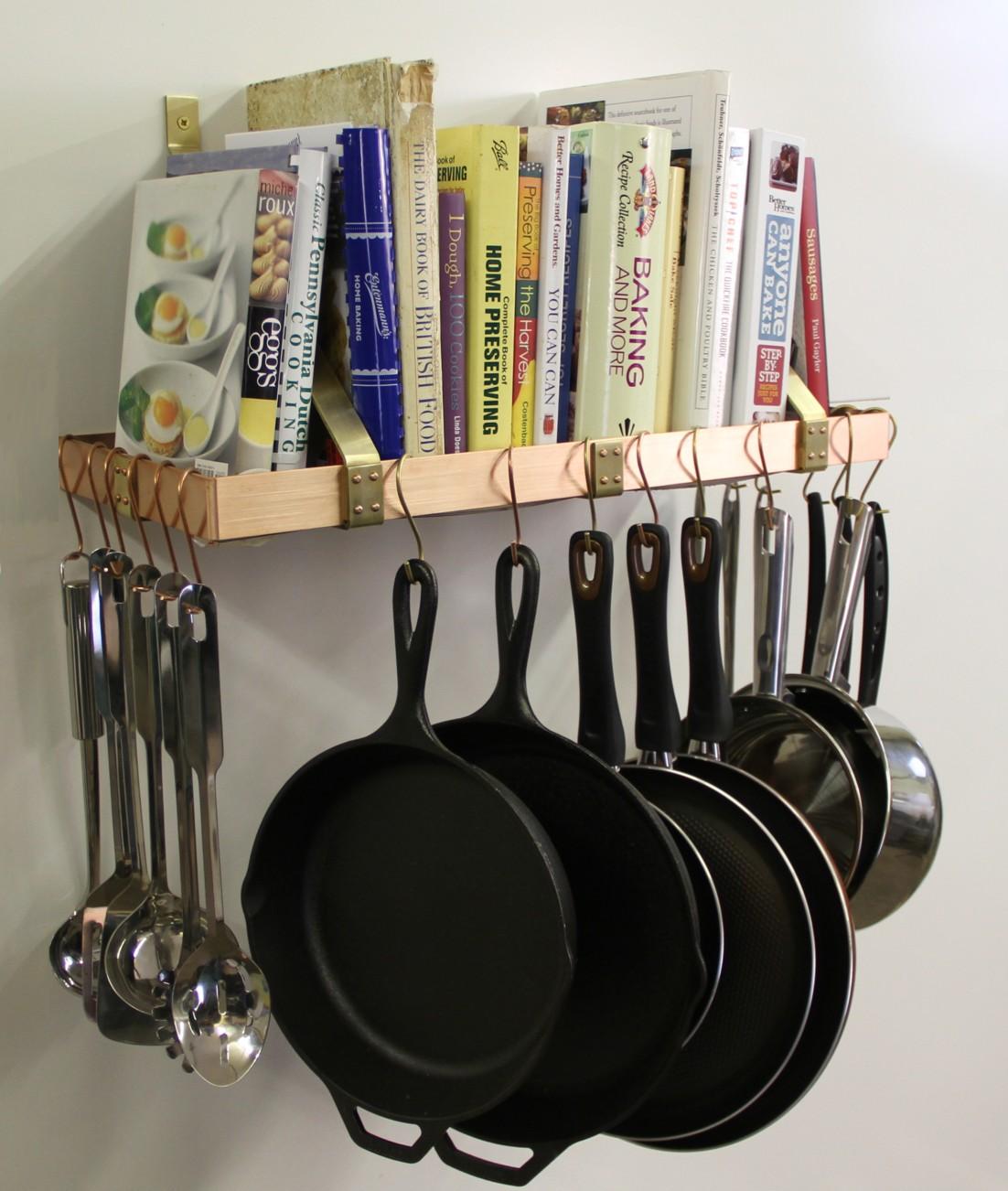 wall mounted pot rack u0026 bookshelf