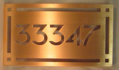 Copper house sign plaque