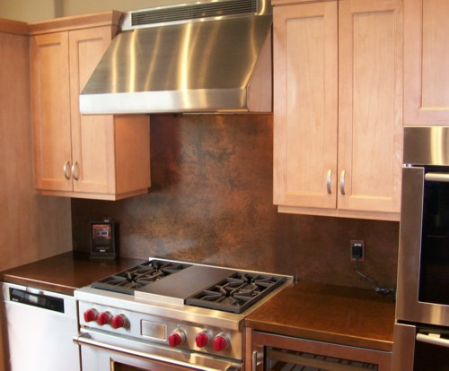 kitchen with metal backsplash copper backsplash from the metal peddler handcrafted in usa 6531
