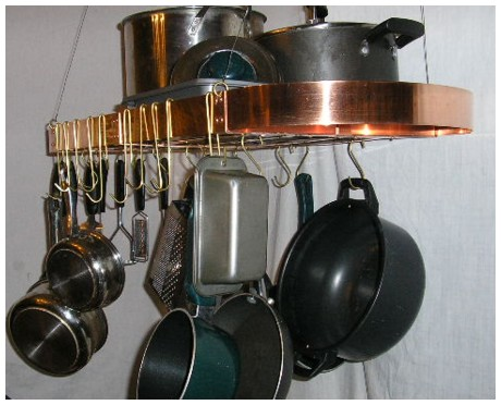 OVAL Real Solid Copper Hanging Pot Rack 28x12 Hooks Chain Made In U