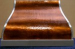 French Bell, Hammered copper range hood, stainless straps