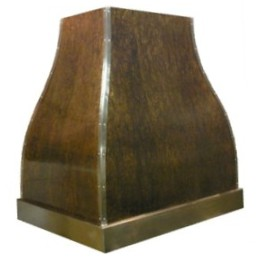 Copper range hood - french bell and pompeii patina
