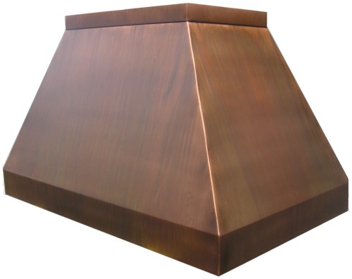 copper range hood with stainless steel trim contempo range hood dark patina - Copper Range Hoods
