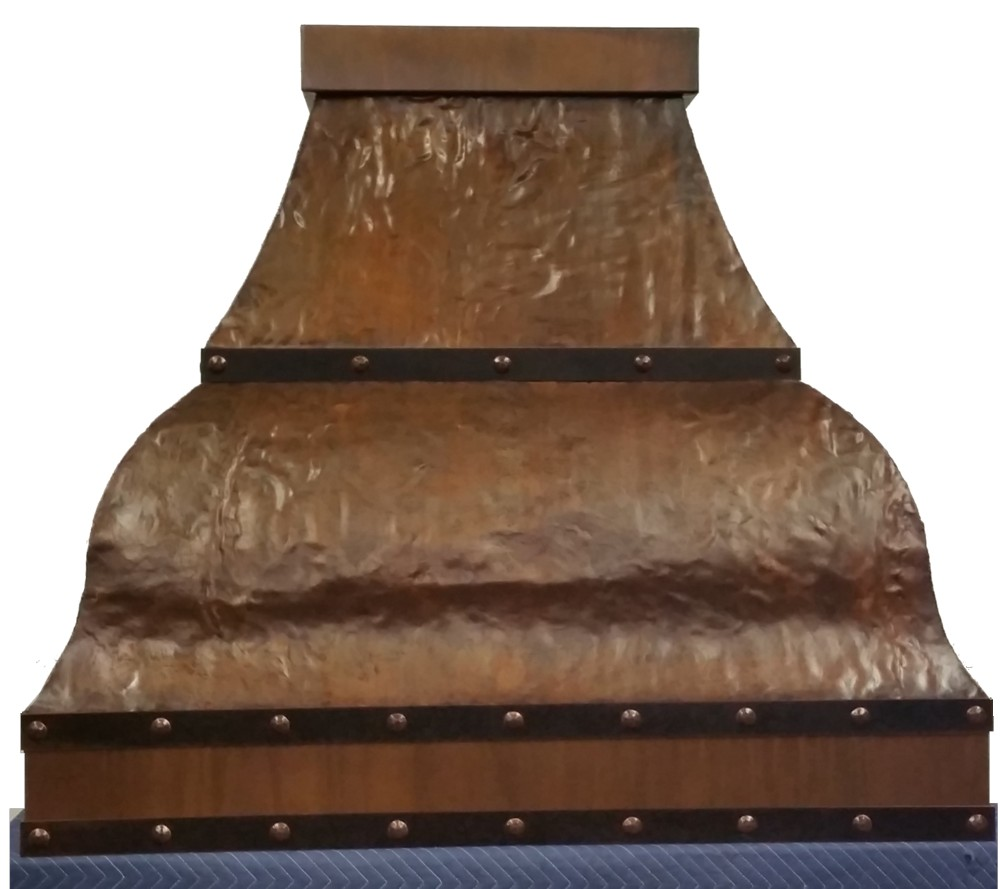 Hammered copper range hood, Double Arch French Bell, custom built in America