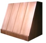 Siena copper kitchen range hood, with standing seams