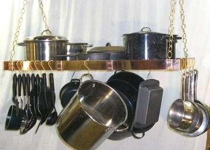 Copper Hanging Pot Rack - real copper 40x20 inches