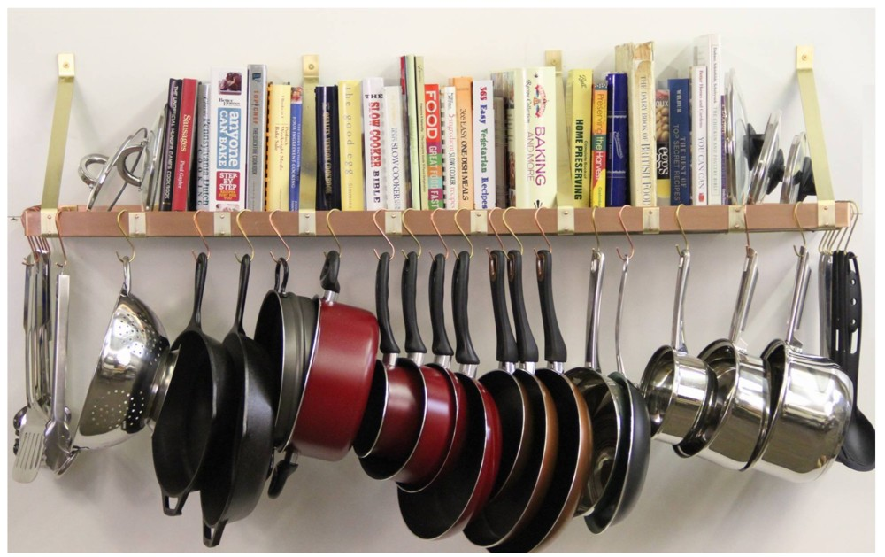 Wall Mounted Pot Rack Bookshelf