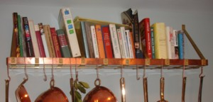 Copper Pot Rack Book Shelf