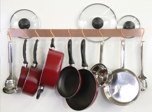 Copper Wall Mounted Pot Rack handmade by TheMetalPeddler
