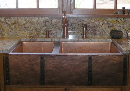 Copper Sink With Arpon U0026 Custom Straps And Clavos