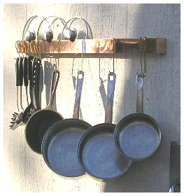 Slim Space Saver Copper Wall Mounted Pot Rack